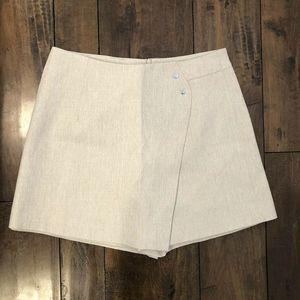 Chicwish Ivory Tan Asymmetric Mini Skort Size M